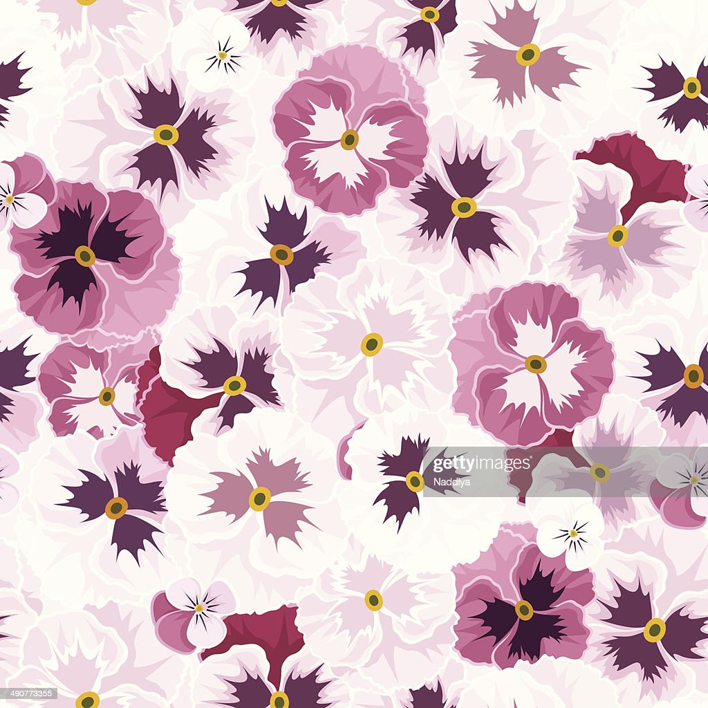 Seamless pattern with pink pansy flowers vector illustration vector seamless pattern with pink pansy flowers vector illustration vector art mightylinksfo