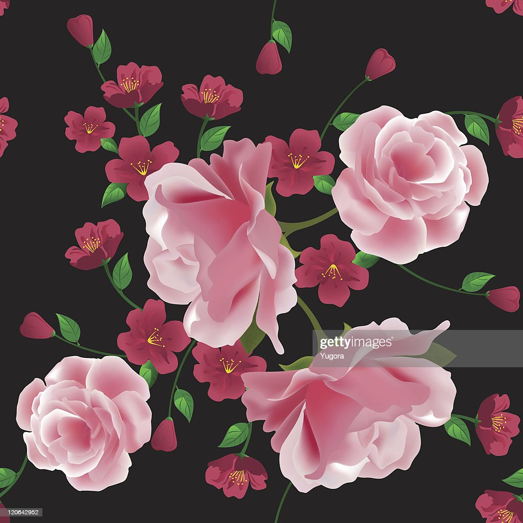 Seamless Pattern With Pink Roses And Flowers On Black Background
