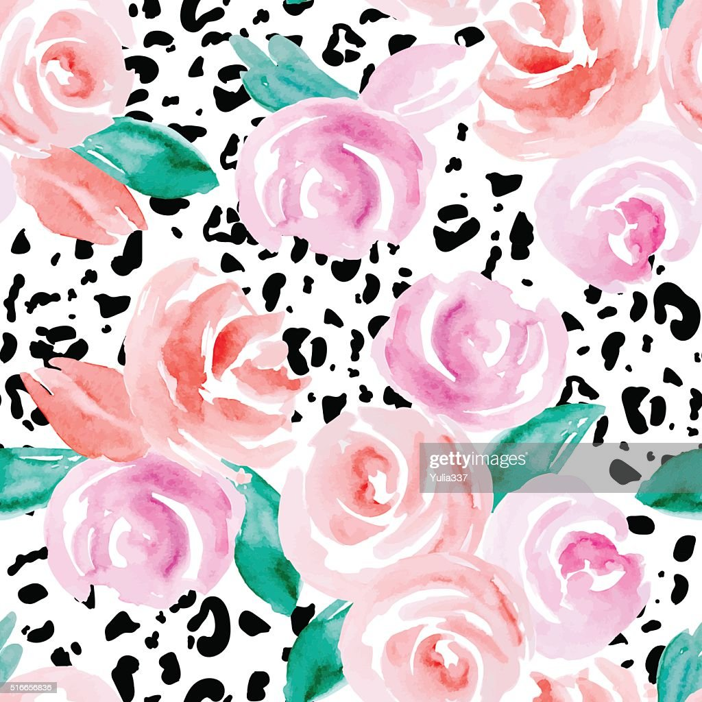 Seamless pattern with pink roses.