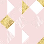 Seamless pattern with pink, white and golden rhombus.