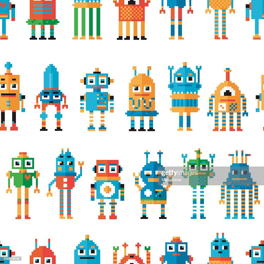Seamless pattern with pixel robots. : Vector Art