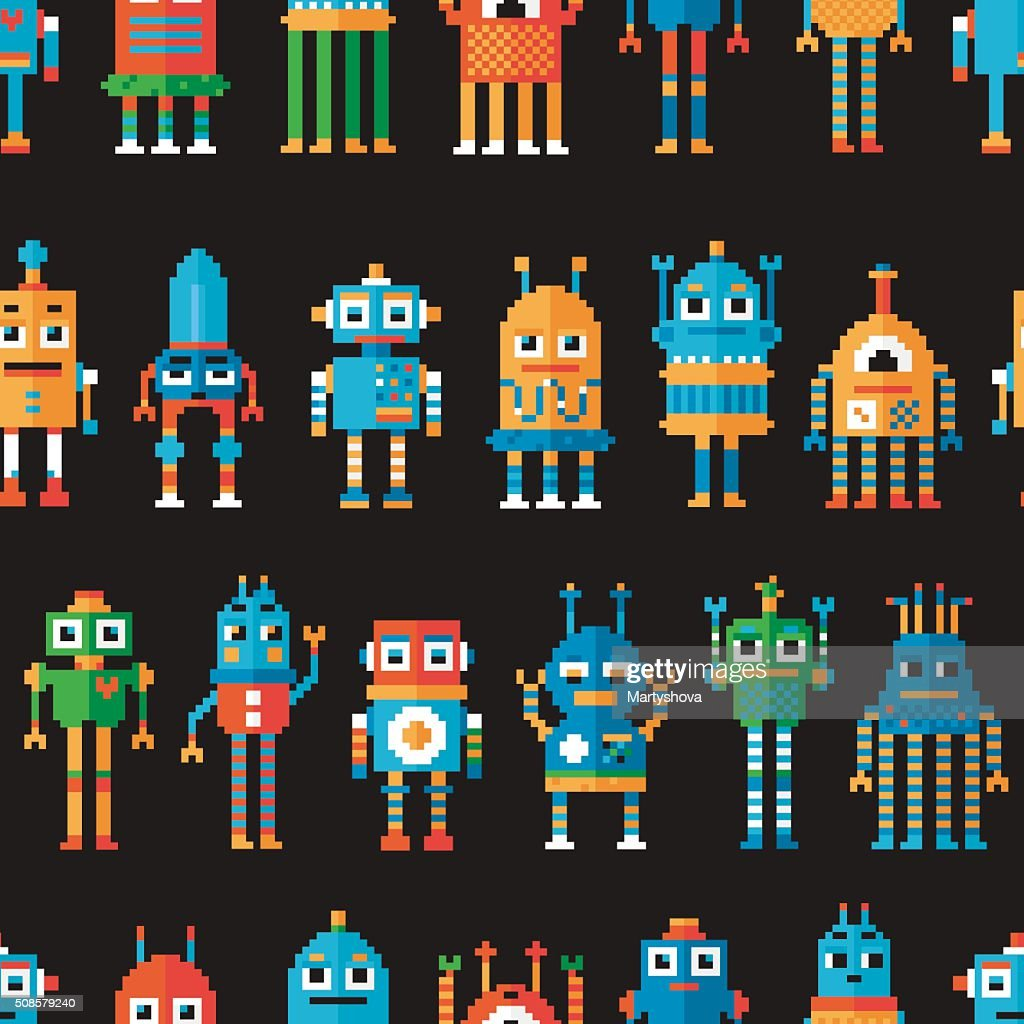 Nahtlose Musterung mit Pixel Roboter. : Vektorgrafik
