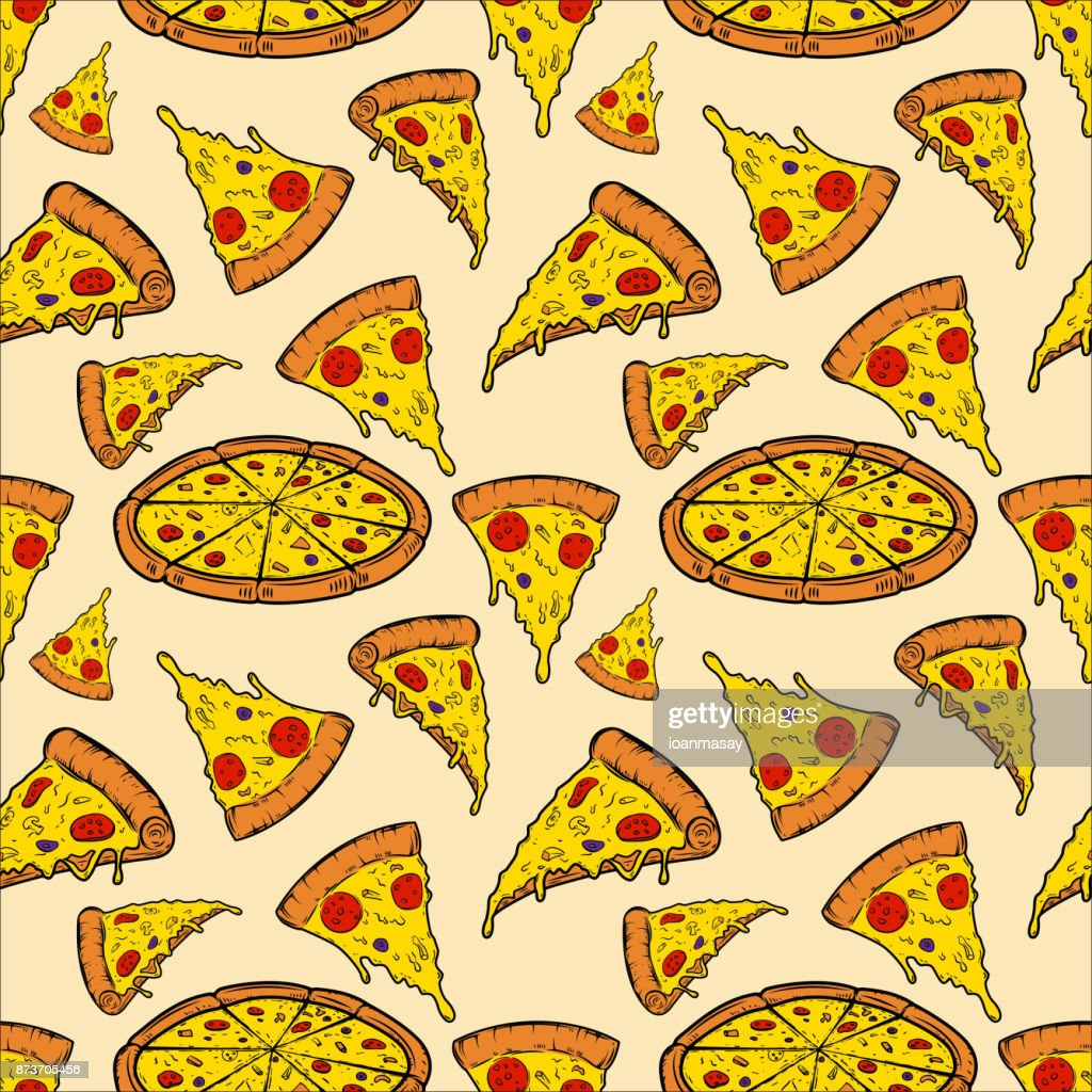 Seamless pattern with pizza. Vector illustration