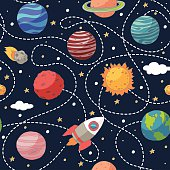 Seamless pattern with planets and the sun