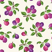 Seamless pattern with plums. Vector illustration.