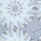 Seamless pattern with pointed snowflakes on light blue background