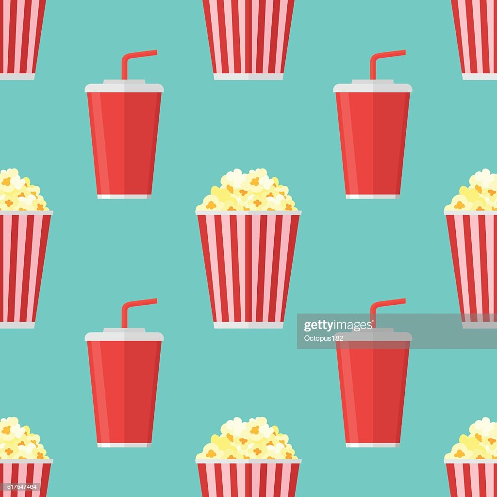 Seamless pattern with popcorn and soda takeaway