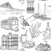 Seamless pattern with Portuguese sketches
