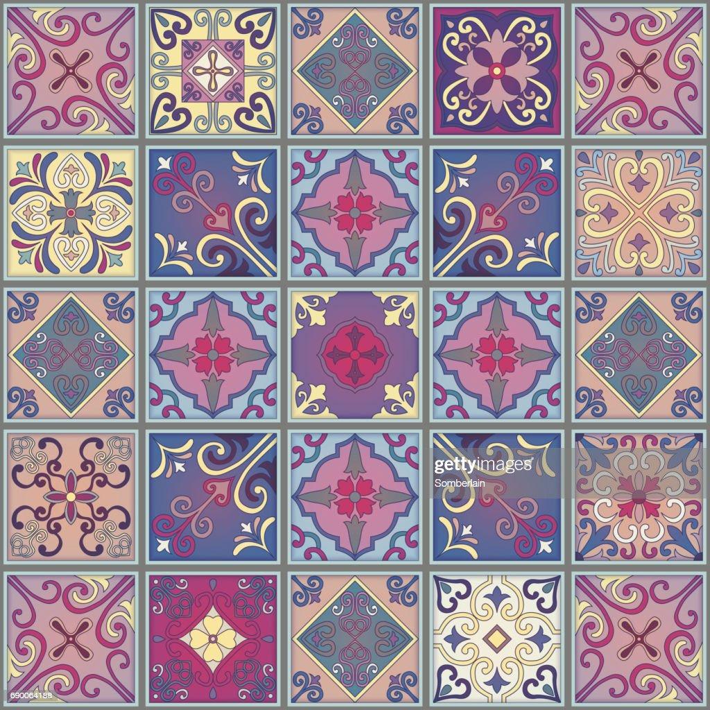 Nahtlose Muster Mit Portugiesischen Fliesen In Talaverastil Azulejo - Portugiesische fliesen azulejos
