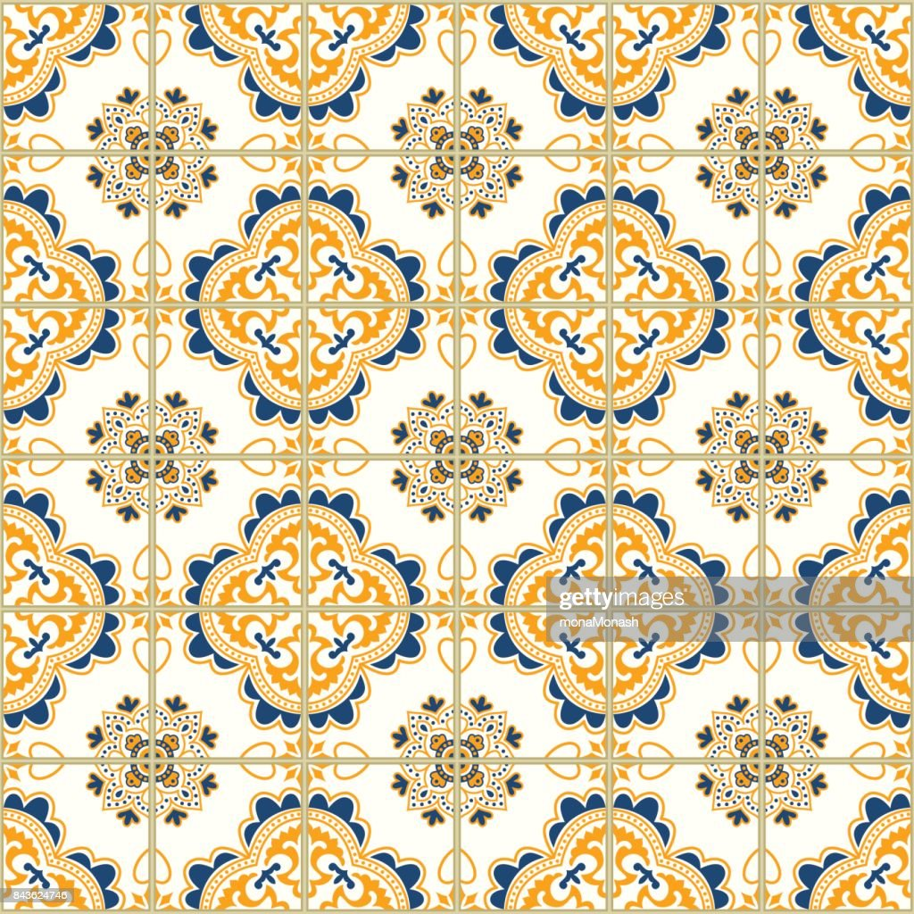 Seamless pattern with portuguese tiles. Vector illustration of Azulejo on white background. Mediterranean style. Blue and yellow design