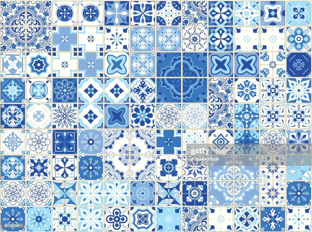 Seamless pattern with portuguese tiles. Vector illustration of Azulejo on white background. Mediterranean style. Blue design