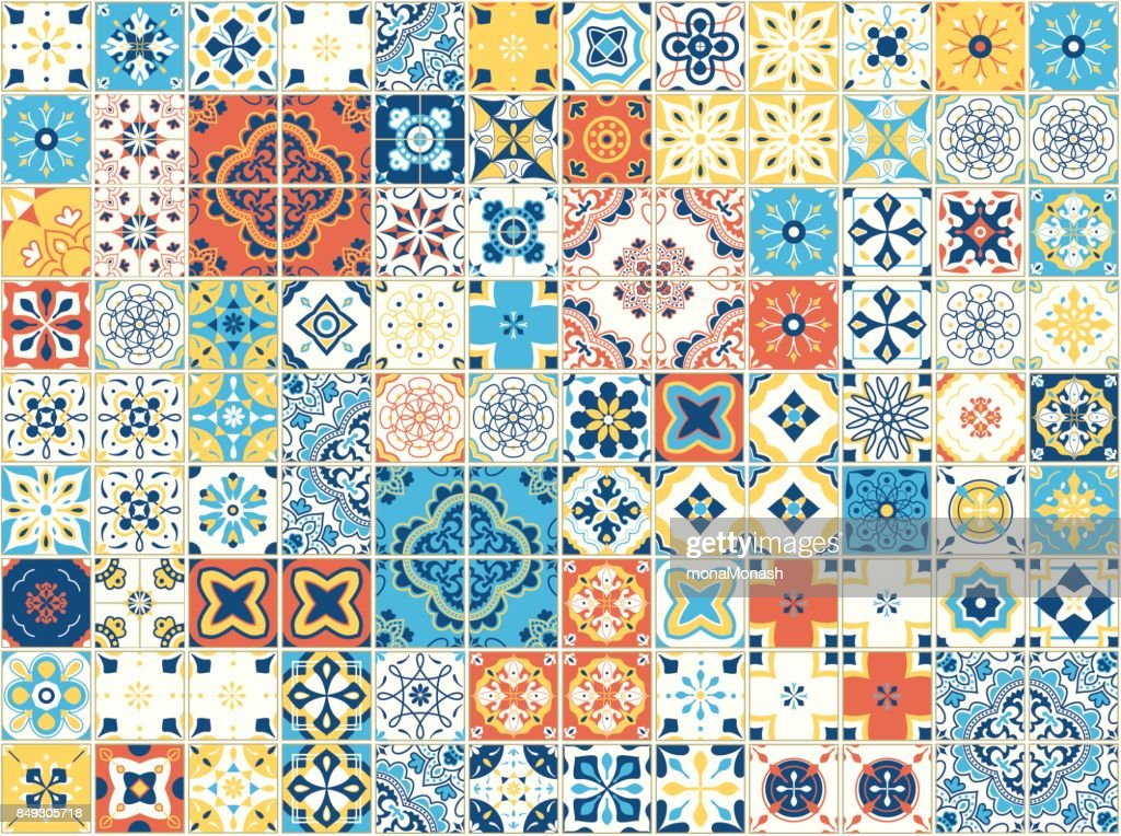 Seamless pattern with portuguese tiles. Vector illustration of Azulejo on white background. Mediterranean style. Multicolor design