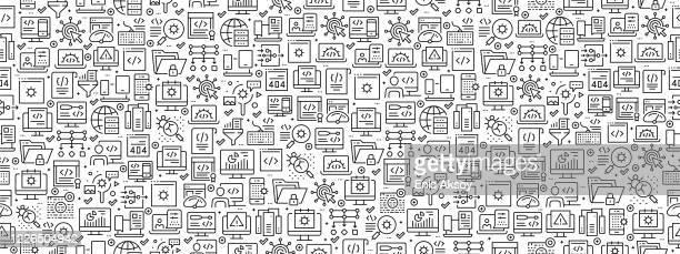 nahtloses muster mit programmiersymbolen - programmierer stock-grafiken, -clipart, -cartoons und -symbole