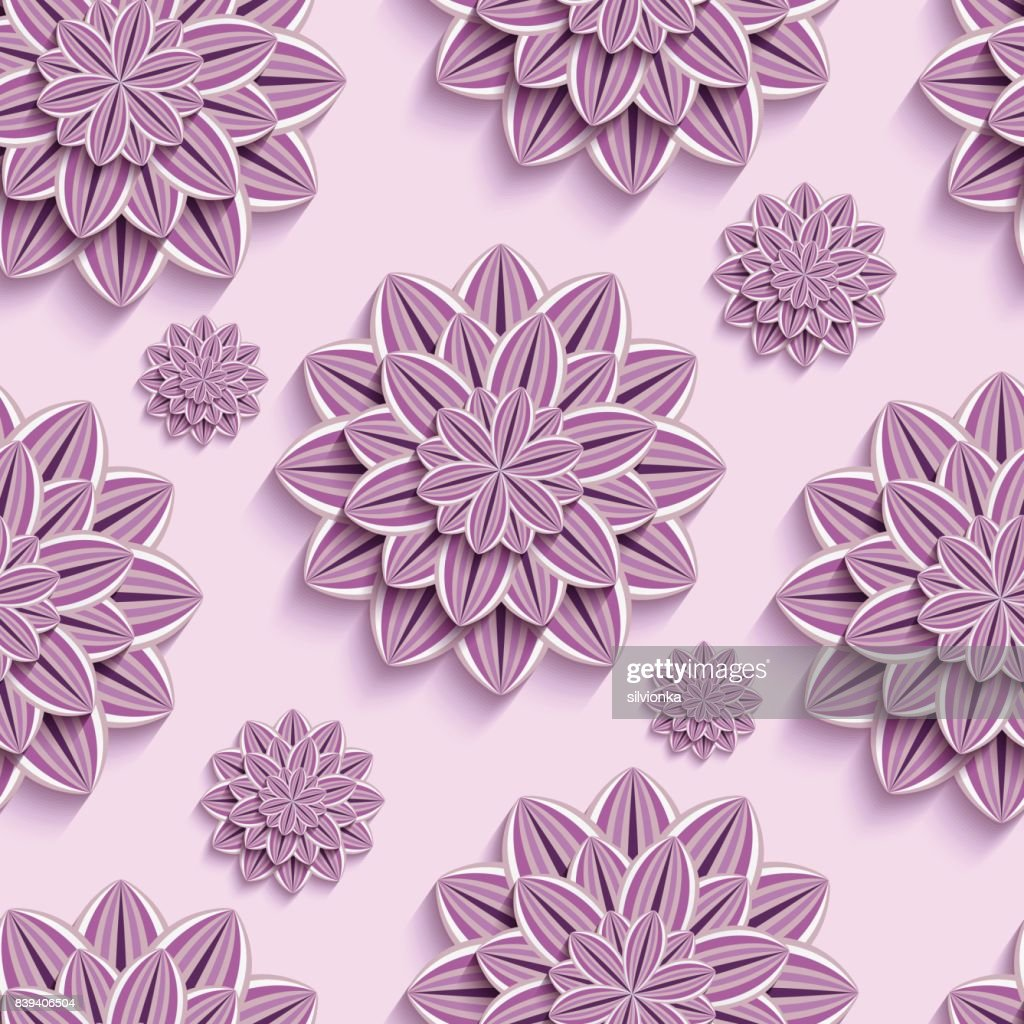 Seamless Pattern With Purple 3d Paper Flowers Vector Art Getty Images