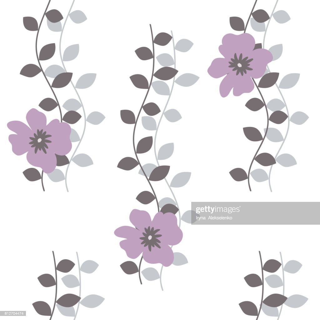 Seamless Pattern With Purple Flowers And Leaves On A White