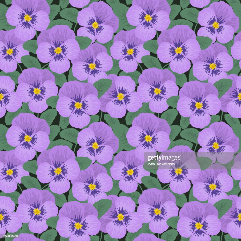 Seamless pattern with purple pansies and green leaves