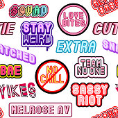 Seamless pattern with rainbow patches, stickers, badges, pins with words: 'snatched', 'sassy riot', 'sassy riot', 'love bites', etc.