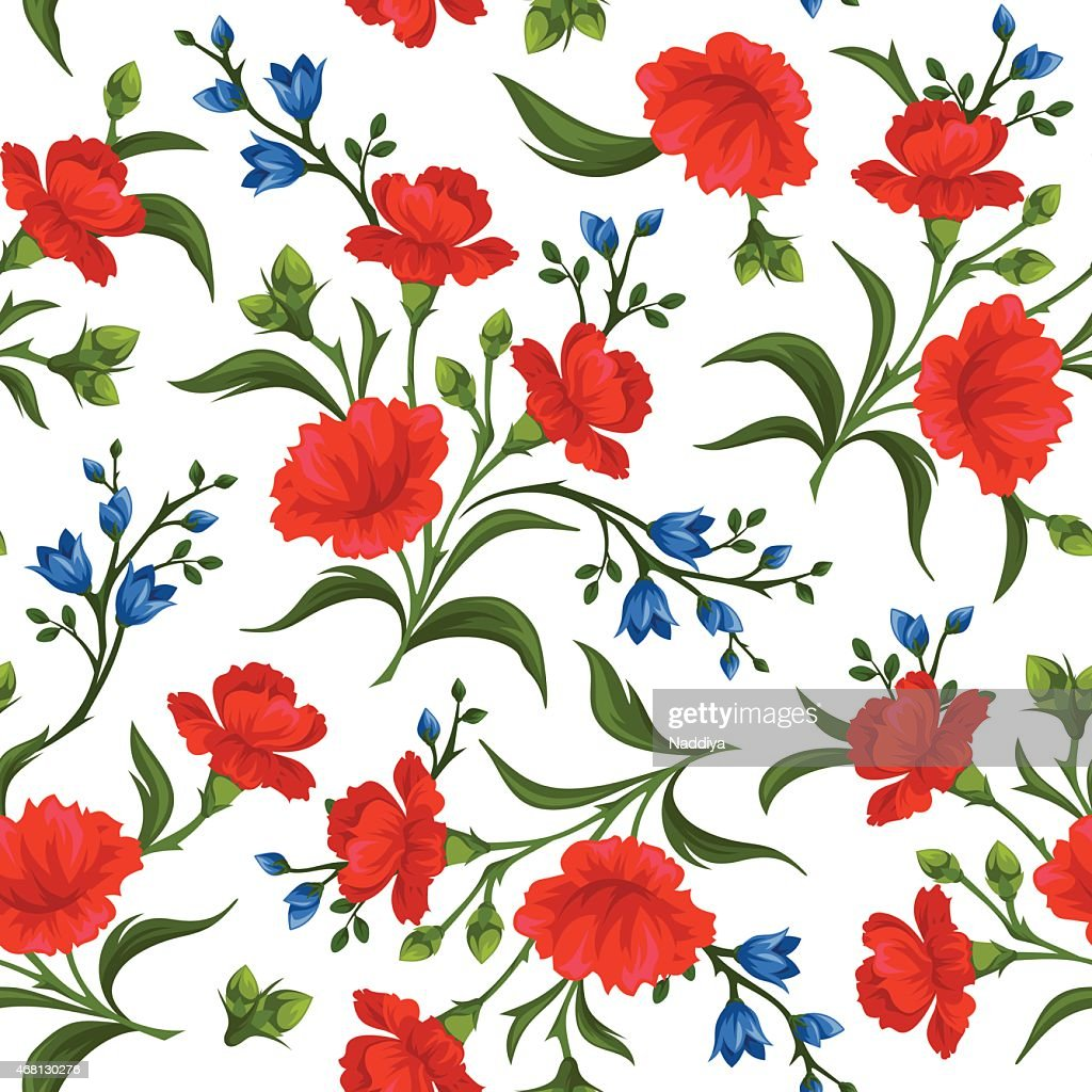 Seamless pattern with red and blue flowers. Vector illustration.