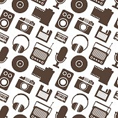 Seamless Pattern with Retro Media technology