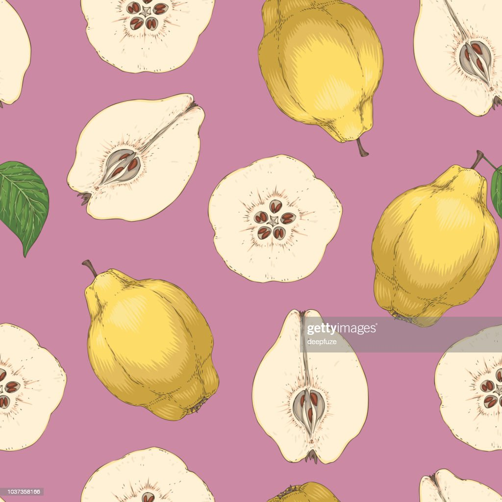 Seamless Pattern with Ripe Quince