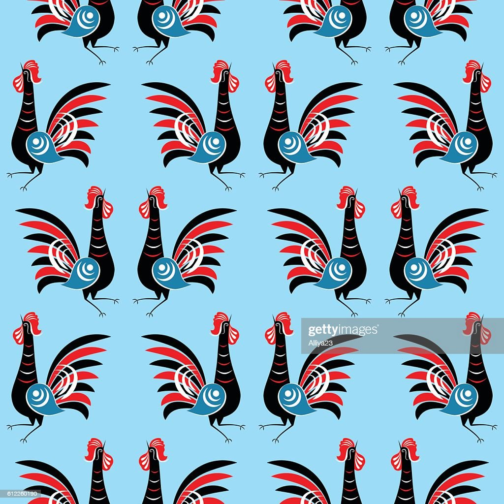 Seamless pattern with roosters