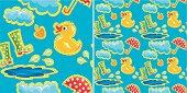 seamless pattern with rubber duck and boots, clouds, umbrellas