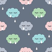 Seamless pattern with sad crying clouds and drops.
