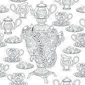 Seamless pattern with samovar