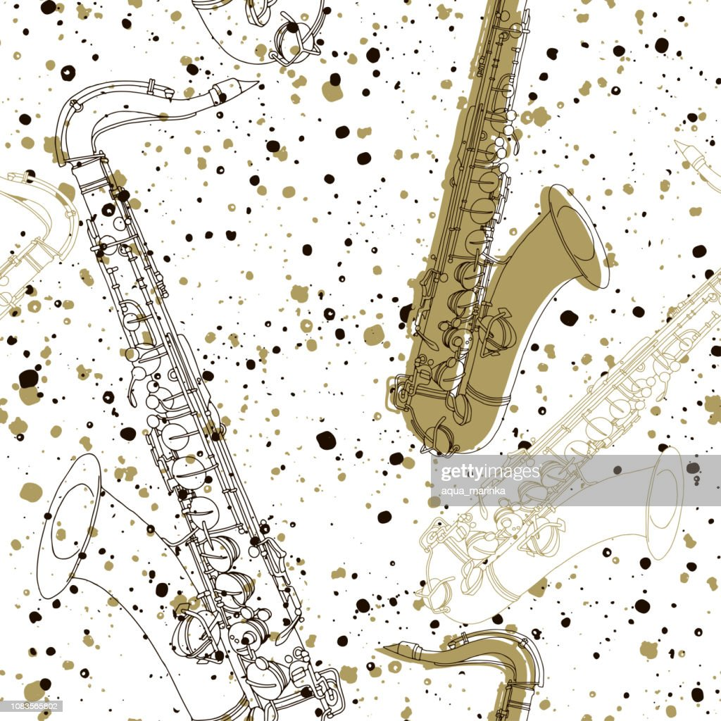 Seamless pattern with saxophones. Stylish vector hand-drawn background.