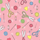Seamless pattern with sewing button, pin, patch, scissors, heart.