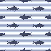 Seamless pattern with sharks and stripes
