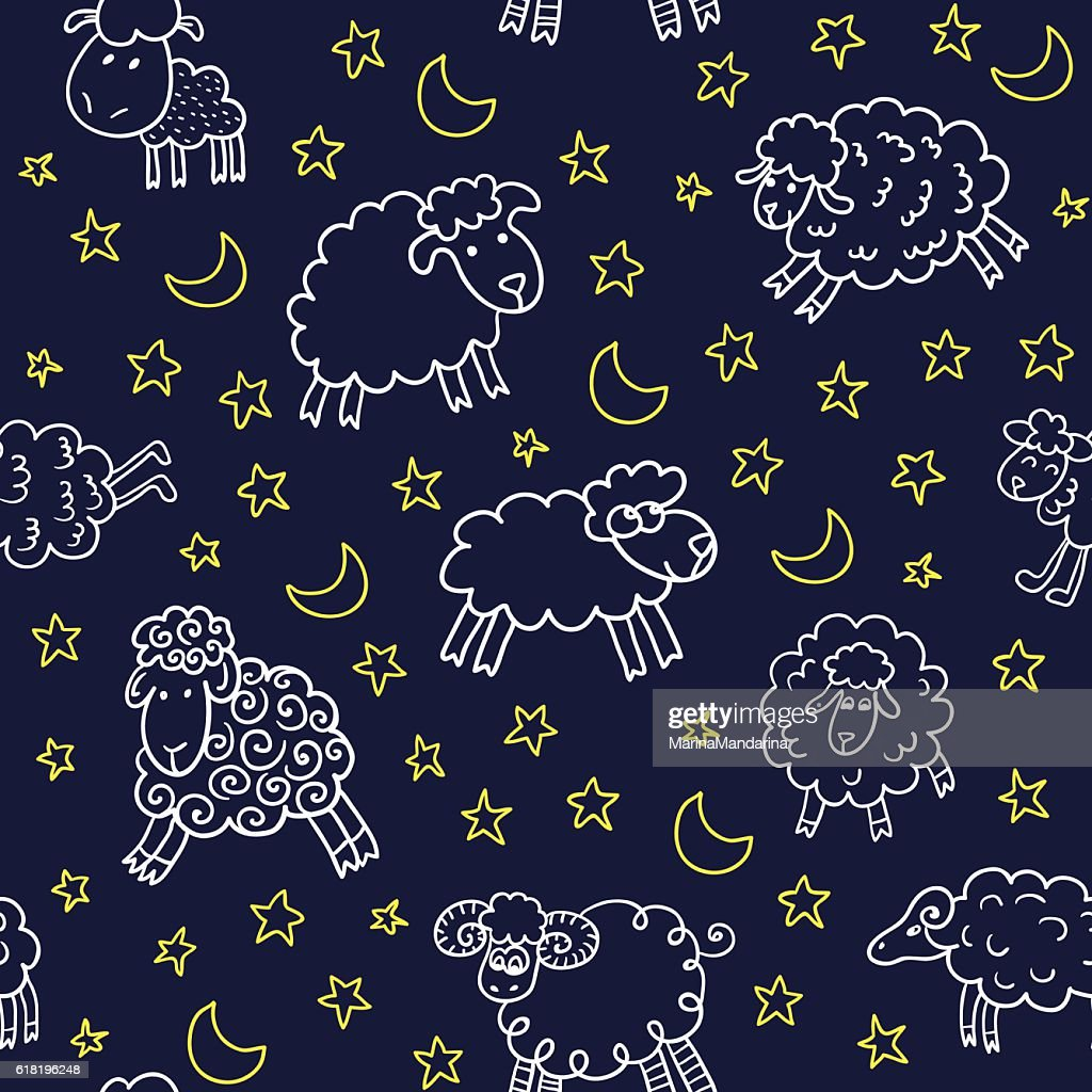 Seamless pattern with sheep in night.