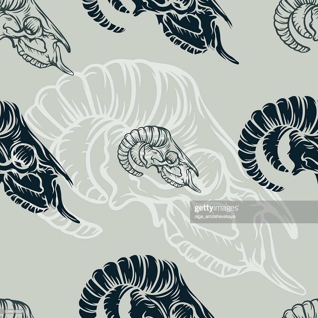 Seamless pattern with sheep skull.