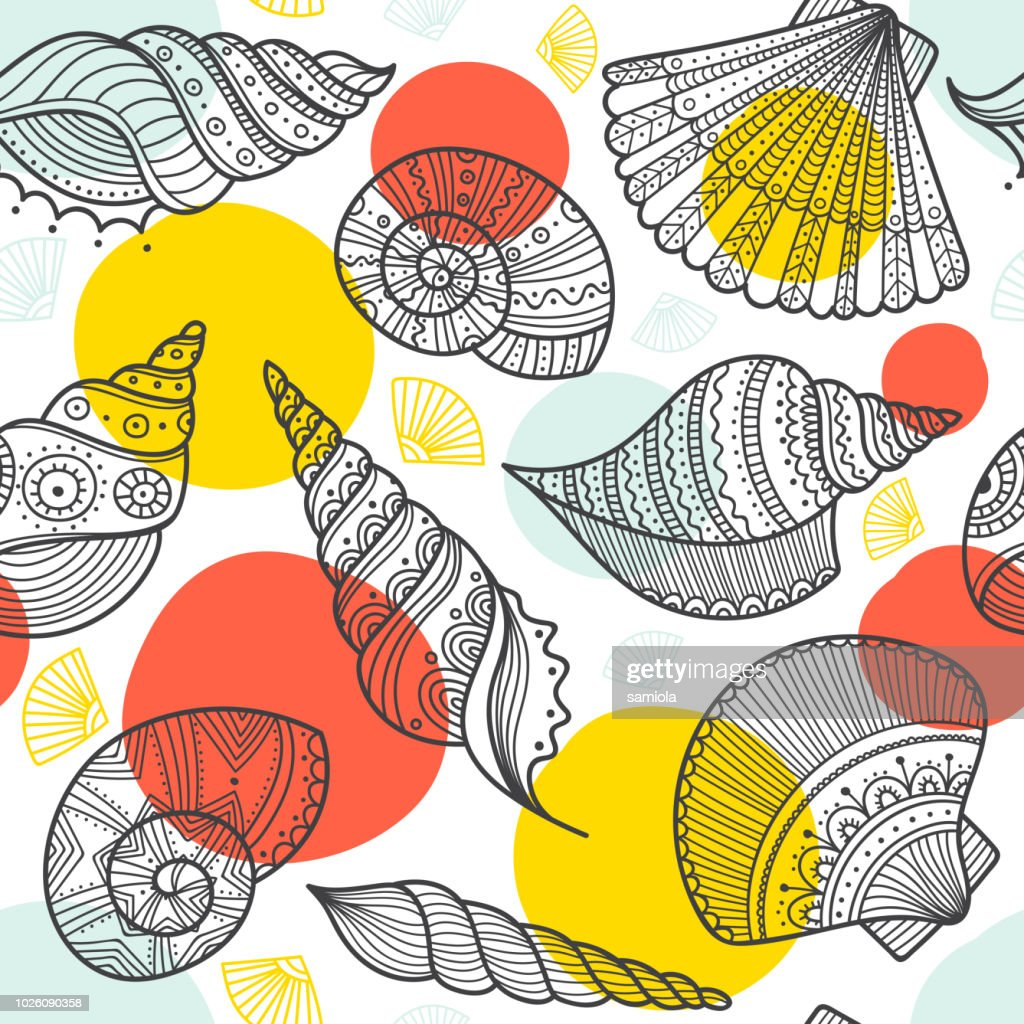 seamless pattern with shells in ethnic boho style with ornaments.