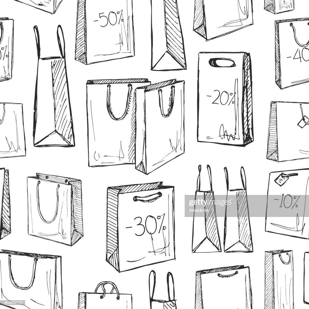 Seamless pattern with shopping bags in a sketch style. Vector illustration.