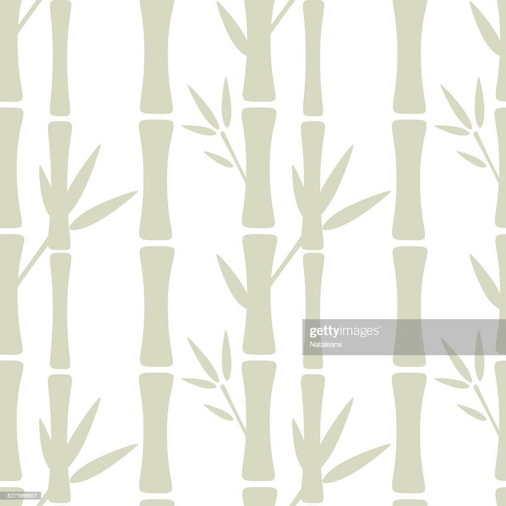 Seamless pattern with silhouettes bamboo trees and leafs