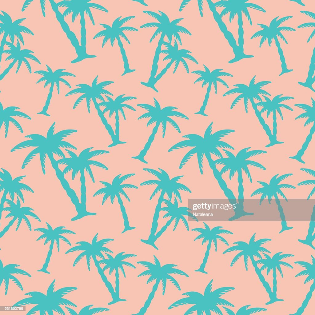Seamless pattern with silhouettes coconut palm trees