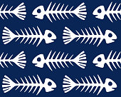 seamless pattern with skeletons of fishes