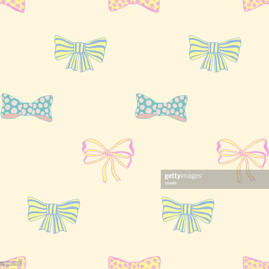Seamless pattern with skerchy bows