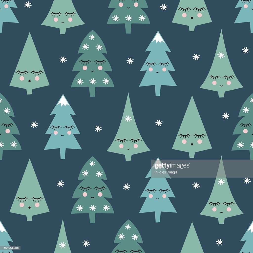 Seamless pattern with smiling sleeping xmas trees and snowflakes.