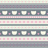 Seamless pattern with smiling teddy bears