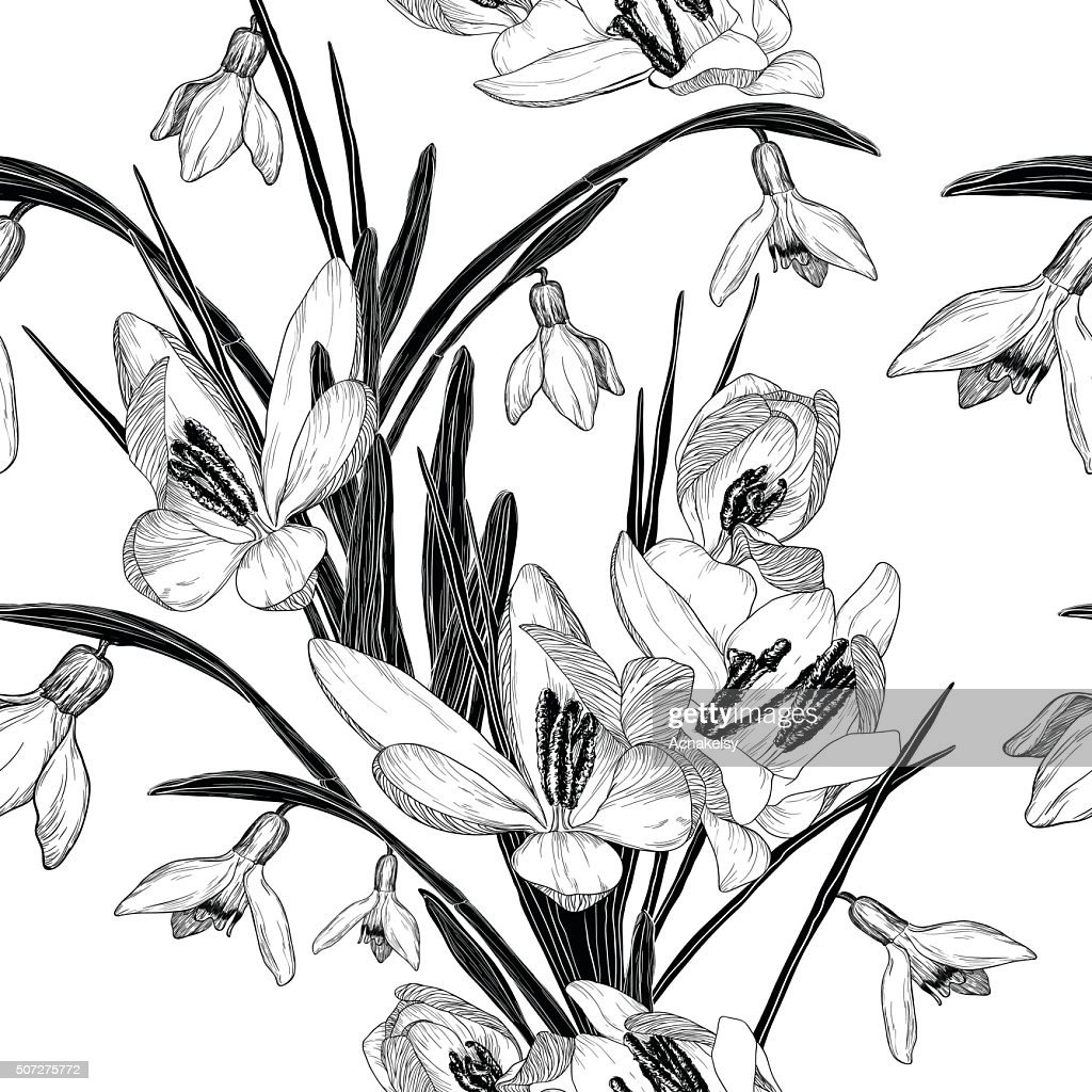 seamless pattern with snowdrop flowers (black and white)