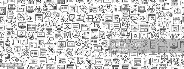 seamless pattern with social media marketing icons - social media icons stock illustrations