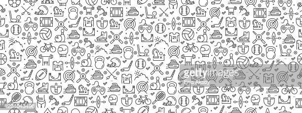 seamless pattern with sport icons - table tennis racket stock illustrations
