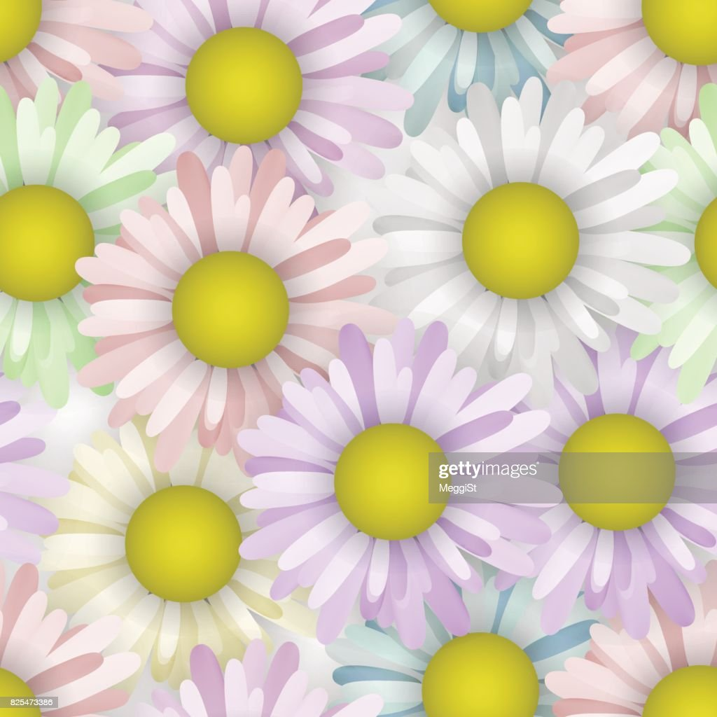 Seamless pattern with spring camomile. Beauty flower. Fabric pastel colors.