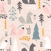 Seamless pattern with squirrel,trees. Creative woodland height detailed background. Perfect for kids apparel,fabric, textile, nursery decoration,wrapping paper.Vector Illustration
