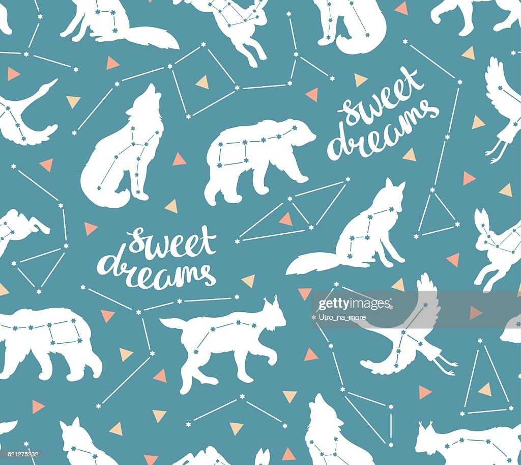 Seamless pattern with star animals.