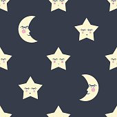 Seamless pattern with stars and moon