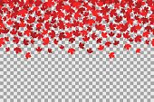 Seamless pattern with stars for 1st of July celebration on transparent background. Canada Day