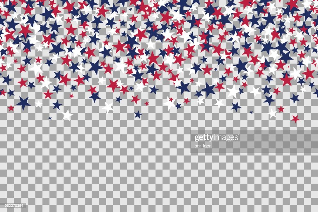 Seamless pattern with stars for Memorial Day celebration on transparent background